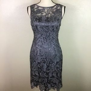 EUC- Adrianna Papell Gray Lace Sleeveless Dress